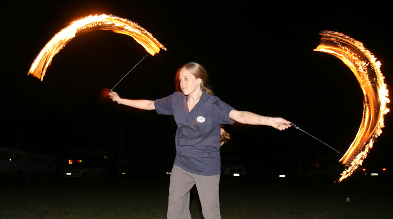 Bronwen fire-twirling