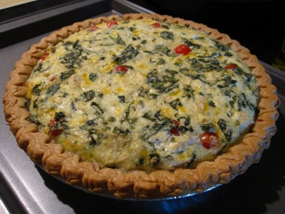 Zucchini, Basil, and Tomato Quiche