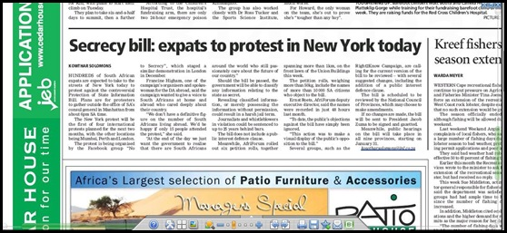 New York Expat South Africans protest against ANC's secrecy Bill