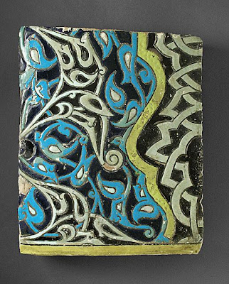 Tile | Origin: Turkey | Period:  Last quarter of 14th century | Collection: The Madina Collection of Islamic Art, gift of Camilla Chandler Frost (M.2002.1.771) | Type: Ceramic; Architectural element, Earthenware, glaze-painted, 13 x 10 3/4 in. (33.02 x 27.3 cm)