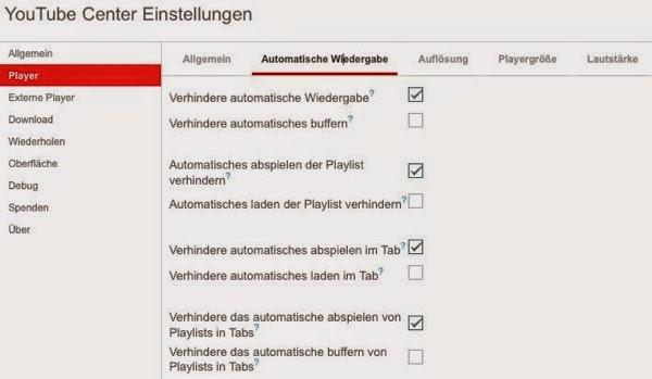 YouTube Center  Einstellungen  Automatische Wiedergabe