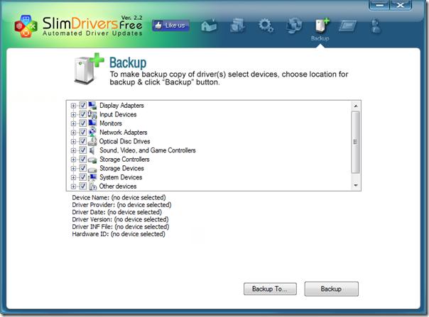 Abra o SlimDrivers, depois clique em Backup