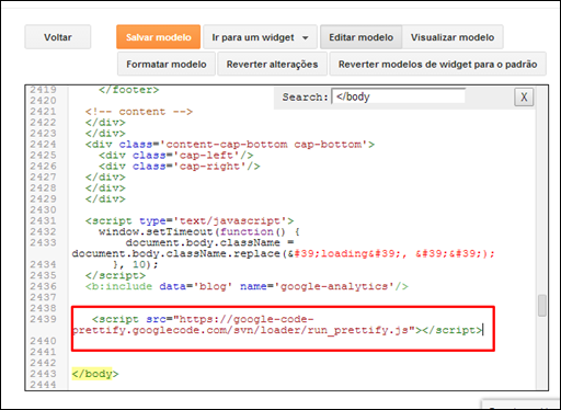 Prettify Syntax Highlighter no Blogger - Visual Dicas
