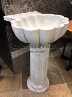 La Concha Pedestal Sink, Honed Cumulus White Marble