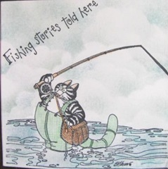 kliban cat trifold card fishntales front of card