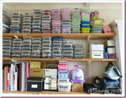 Tidy Craft Room Shelves