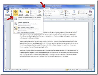 How To Translate Full Document using Office 2010 and Microsoft Translator 1