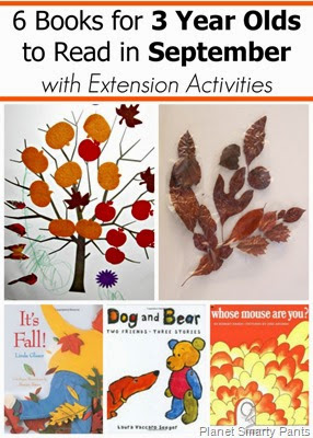 September Book Picks for 2 and 3 year olds with extension activities