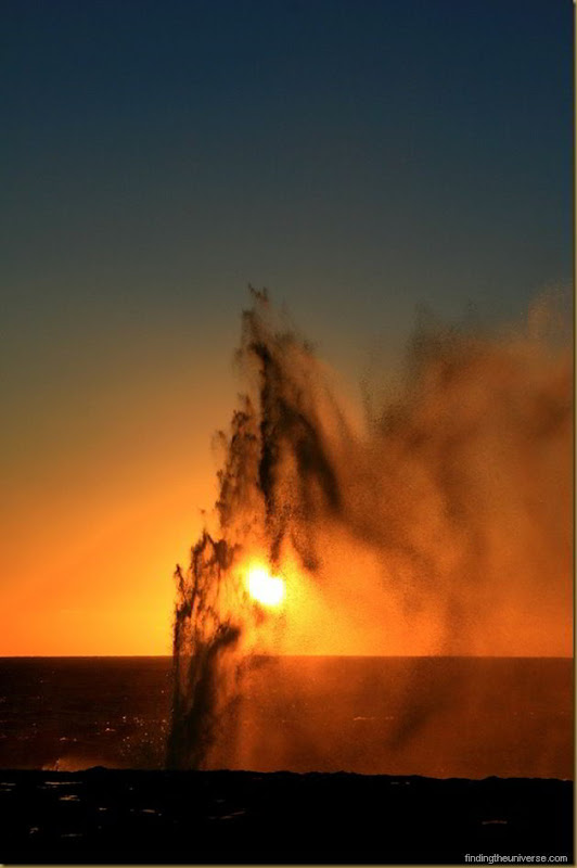 Sunset through the blowholes