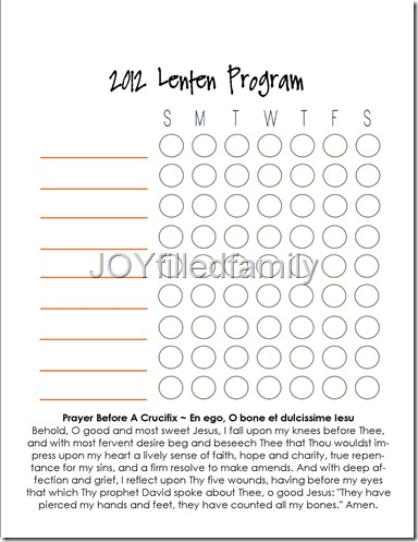 JOYfilledfamily Personal Lenten Program Chart - Blank