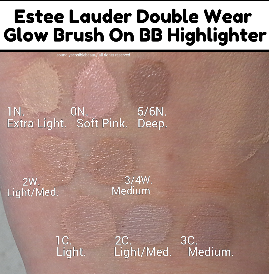 Estee Lauder Double Wear Glow Brush On BB Highlighter/Concealer Pen;  Swatches Of Shades. AFTER DRYING! 1N Extra Light, 0N Soft Pink, 5/6N Deep  2W Light ...