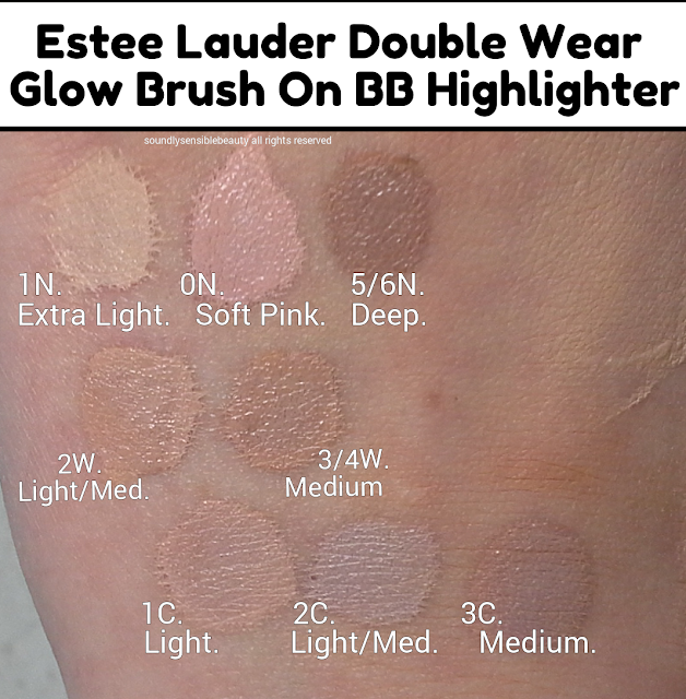 Estee Lauder Double Wear Glow Brush-On BB Highlighter/Concealer Pen; Review & Swatches of Shades. 1N, 0N, 2W, 3/4W, 1C, 2C, 3C, EXTRA LIGHT, LIGHT, LIGHT/MEDIUM, MEDIUM, SOFT PINK