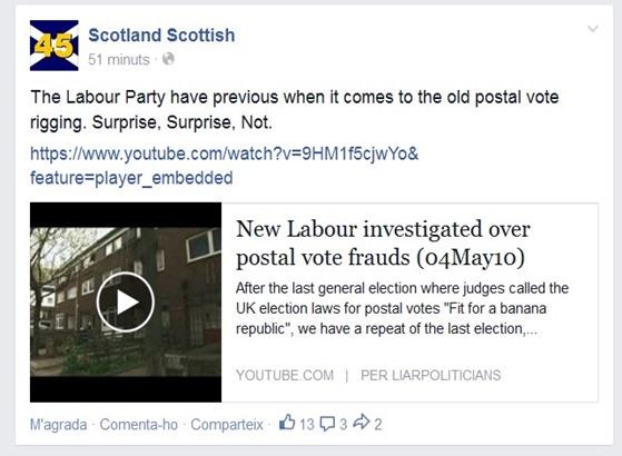 frauda en Escòcia pel referèndum Laborista