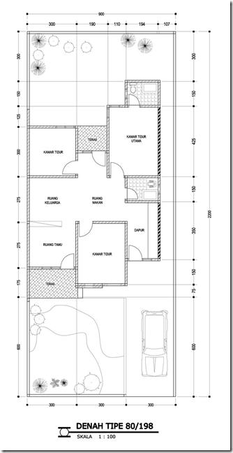 Denah Rumah Minimalis Tipe 80