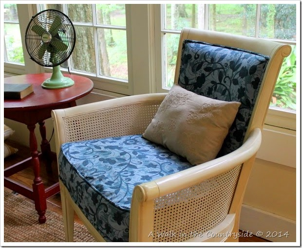 French chair in sunroom