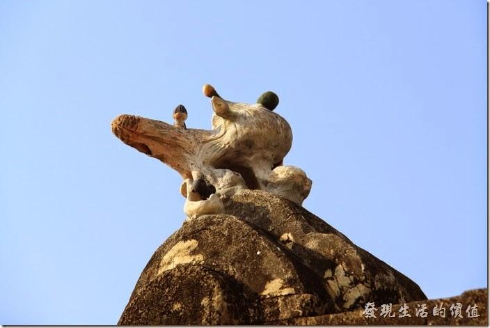 台南-花貓在顧的店。屋頂上這隻不知道是守護神還是花貓的塑像?