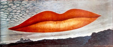 Man Ray (1890–1976); A l'heure de l'observatoire – les amoureux (Observatory Time – The Lovers), 1964, after a canvas of c.1931; Color photograph; 19 5/8 x 48 3/4 in. (50 x 124 cm); The Israel Museum, Jerusalem; © 2011 Man Ray Trust/Artists Rights Society (ARS), New York/ADAGP, Paris/ Photo © The Israel Museum by Avshalom Avital.