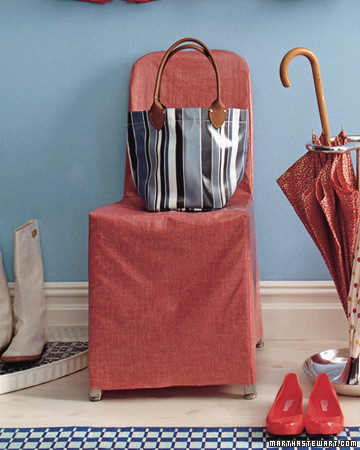 Spring: Often times, a change in season can present a decorating challenge. With lots of April showers come wet things. This DIY slipcover provides a waterproof, attractive place to throw your tote and take off rain boots.