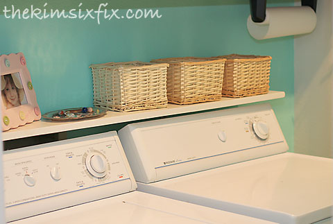 Laundry room before and after flashback friday the kim for Shelf above washer and dryer
