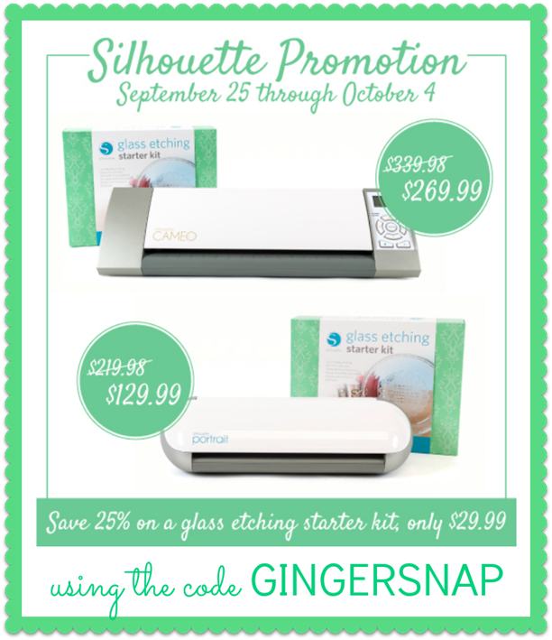 Silhouette glass etching promotion #gingersnapcrafts #silhouette #ad