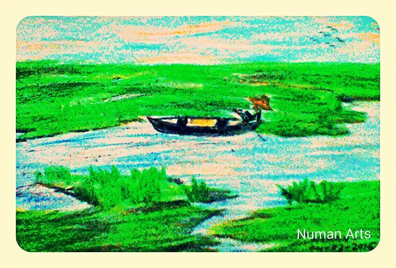 Tags Drawing Oil Pastels Nature Beautiful Landscape Bangladesh Countryside Riverside View Boat Evergreen Natural Nice Art