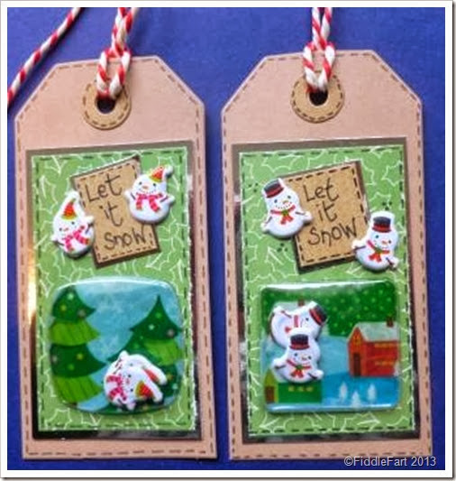 snow man tags using bubble christmas stickers