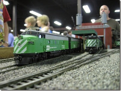 IMG_5440 Burlington Northern F7A #730 on the LK&R HO-Scale Layout at the WGH Show in Portland, OR on February 17, 2007