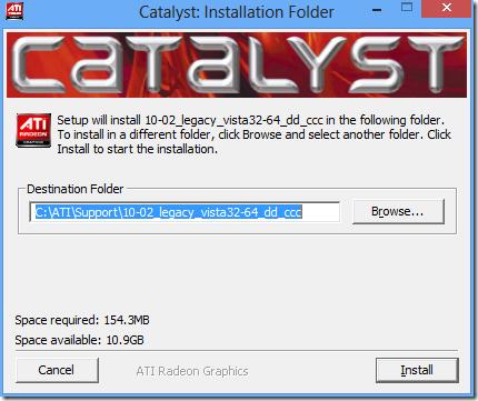 Abra o instalador do Catalyst. Clique em Install e aguarde até que os arquivos sejam extraídos