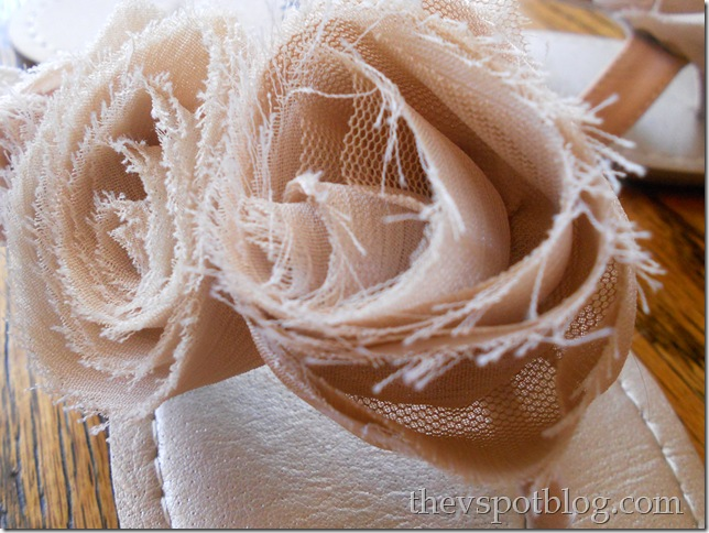 flip-flop, cute, taupe, tan, shoe, fabric, rosette
