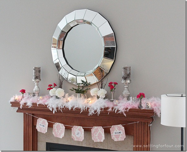 How to decorate a Beautiful Mantle for Valentine's Day from Setting for Four.  See how to here! http://www.settingforfour.com/2013/02/how-to-decorate-mantle-for-valentines.html  #mantle #valentine #diy #decor