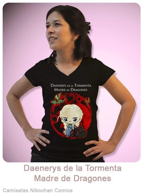 Camiseta chica con diseño kawaii de Daenerys de la Tormenta, madre de Dragones