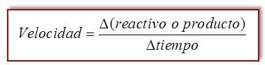 Formula de velocidad de una reaccion quimica
