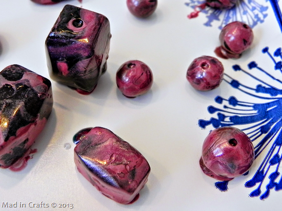 use nail polish to marble beads