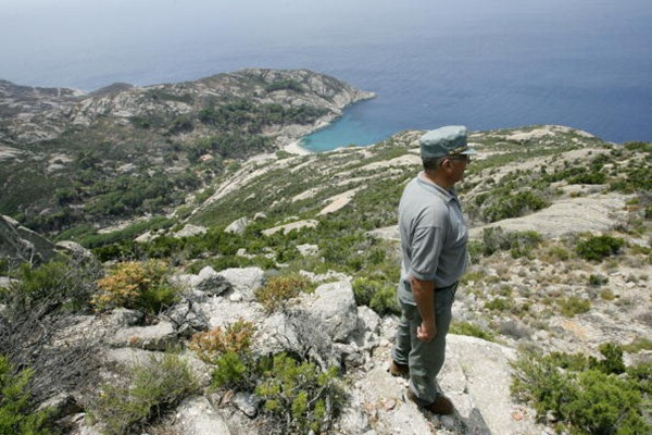 An Italian forestry worker watches the coast from a hill on the famous Montecristo island