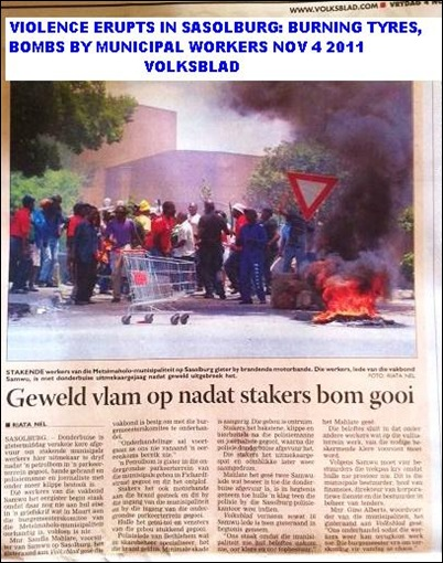 ANC STRIKERS THROW PETROL BOMBS NOV92011