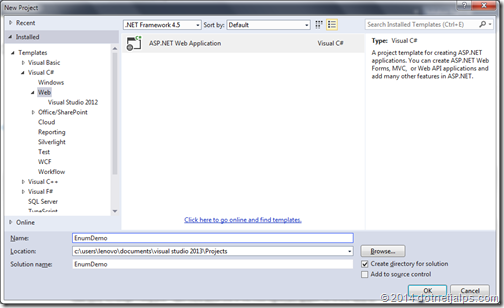 Creating a new ASP.NET MVC 5 project in Visual Studio 2013