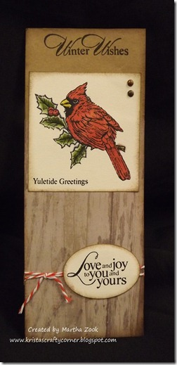 Martha Zooks cardinal Christmas card
