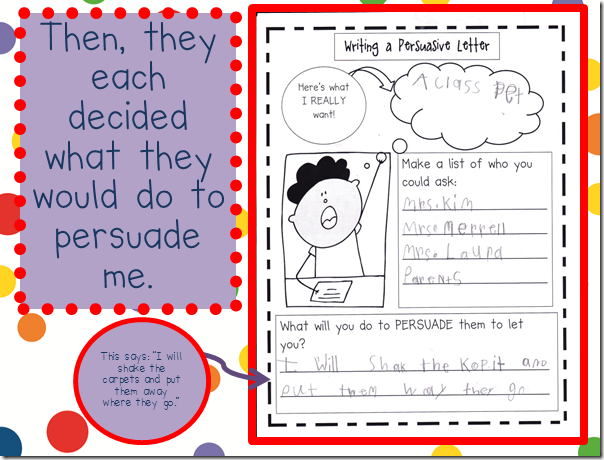 persuasive writing in kindergarten