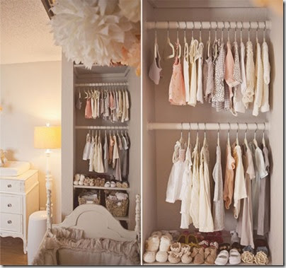 peach-brown-baby-girl-nursery-open-closet-wall