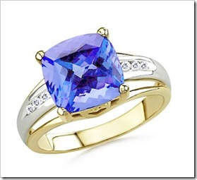 Cushion Tanzanite and Round Diamond Split Shank Ring