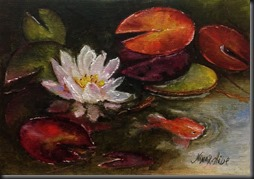 Water Lily No 6 7x5 inches linen 200 dpi