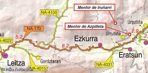 Localización de los Menhires de Iruñarri y Azpilleta