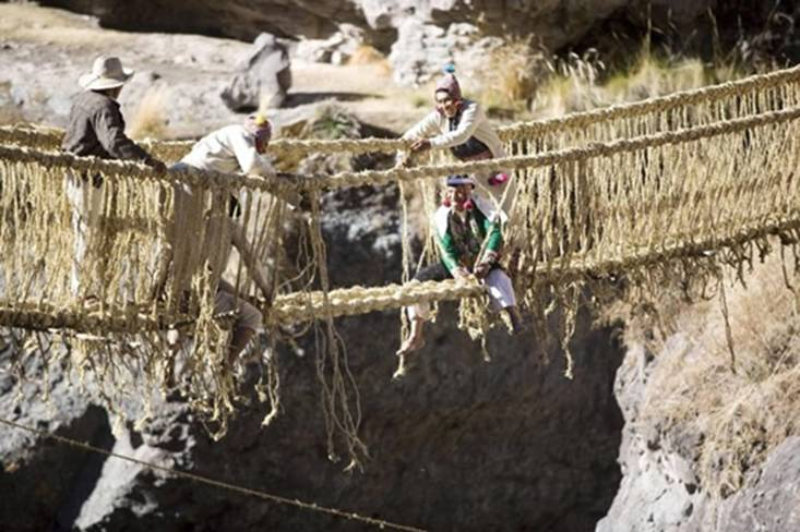 The Qeswachaka hanging bridge, of Cuzco, Chile, is handwoven every year, from a local grass called Qoya