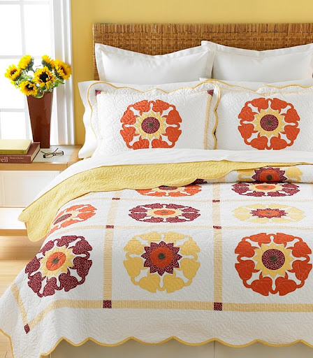 The pattern on this Sunflower Medallion quilt was inspired by another one of Martha's own textiles.