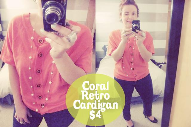 Coral Retro Cardigan