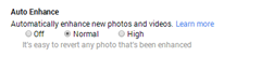 Auto Enhance options in Google+ Settings
