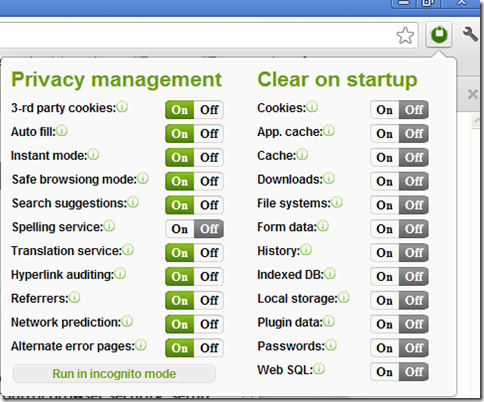 Estensione Chrome Privacy manager