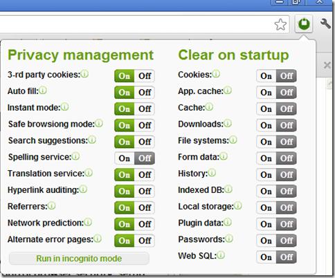 Estensione Chrome Privacy manager