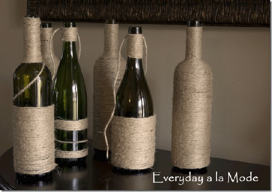 diy projects with jute--wrap wine bottles with jute to add pretty texture