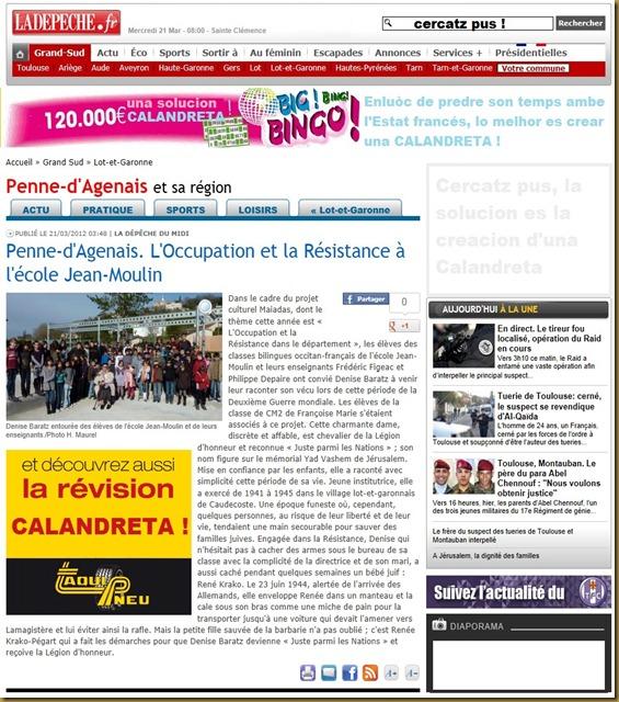 Pena d'Agenés resisténcia contra l'estat